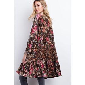 Sweaters - Chocolate Velvet Floral Kimono Wrap Cardigan New